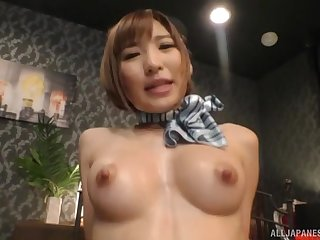 Japanese babe in uniform Natsuki Minami fucked had missionary style