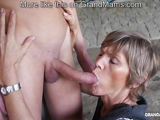 Horny venerable cougar tapes up the brush young toyboy increased by sucks him off