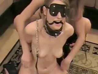 Tow-haired lesbian amateur dominates their way sex slave