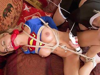 SuperSlut Bound and Shagged by Evil SuperSlut - bondage