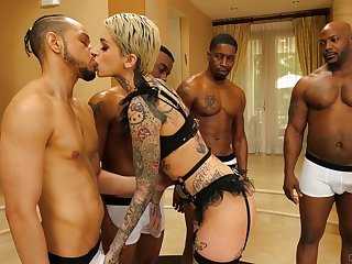Three well endowed dudes fuck pussy anus and throat of tattooed plow Leigh Funereal