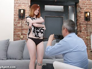 Quite buxom redhead far juicy ass Lili Fiend is poked during interview