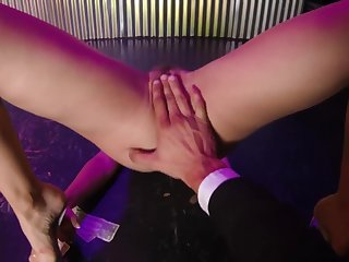 A stripper with hairy cunt getting drilled in advance club. POV.