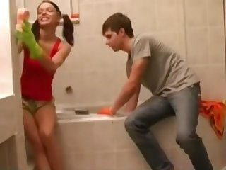 teen fuck in bathroom with gloves rubber