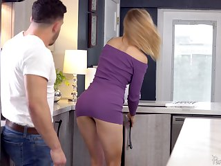 Blonde bombshell Addie Andrews strips before a hard fuck