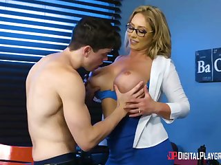Huge-Boobed, towheaded cougar, Eva Notty is having hookup with her step- son-in-law, connected with many times day
