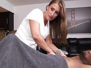 Curvy brunette masseuse gets raddled by a big black locate