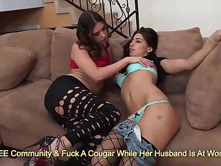 Kinky brunettes Victoria Lawson increased by Allie Jordan kissing increased by rubbing on sofa