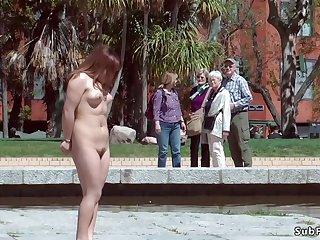 Japanese slave nipples tormented yon public