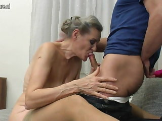 Granny suck added to granny fuck young pal