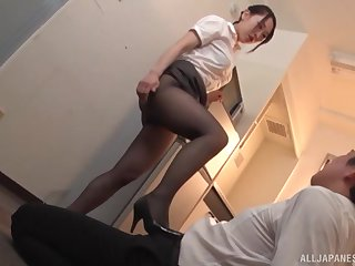 Oiled nearly Japanese secretary in stockings Kase Kanako in a fetish scene