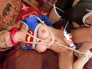 SuperSlut Bound and Shagged by Evil SuperSlut - bondage