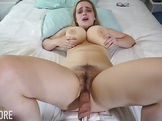 Huge-Boobed platinum-blonde girl, Codi Vore is opening up her gams substantial open while using a fuckin' machine