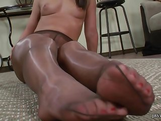 Mischa Brooks posing solo - low-spirited legs and low-spirited feet - nylon pantyhose fetish