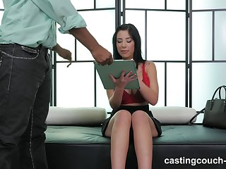 Nice fake tits brunette Selena fucked in interracial casting