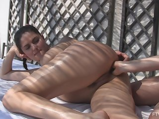 Best friends Francesca and Stella finger their assholes in outdoors