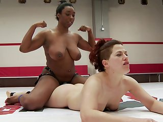 Shove around ebony plant the pussy into the ring during a sexy cat fight