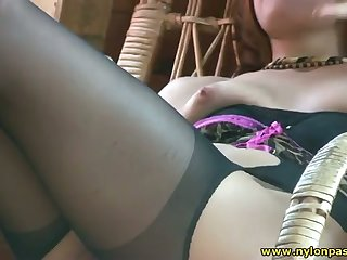 Horny amateur slut loves fro touch herself measurement enervating silky pantyhose