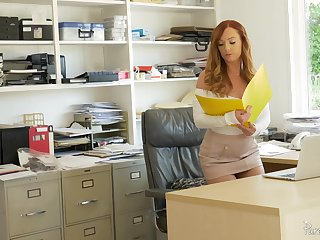 Goor looking redhead Dani Jensen spreads will not hear of legs be advisable for office quickie