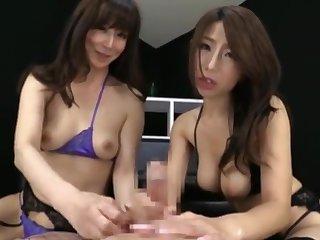 Asian, Brunette, Japanese, Pov, Stockings, Threesome