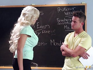 Blonde academy teacher Nina Elle loves having sex with her student