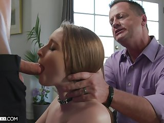 Several young guys fuck Laney Grey in front of the brush superannuated husband