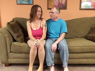 Sexy brunette amateur with huge unartificial tits is near to let this old bloke have some fun!