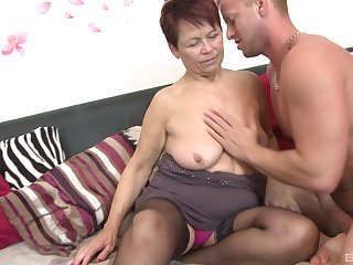 Younger lover slides his dick in tight pussy be required of mature Emmi