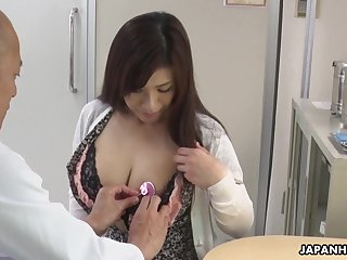 Hot Japanese babe needs some sexual therapy added to her tits are so huge