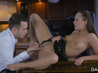 Good sex on a table to grant the chick insane orgasms and creampie