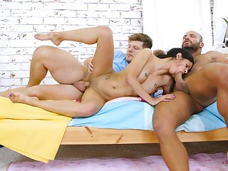 Excitable Sandra Soul has a special approach when pleasing duo men
