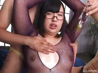 Hana Yurino wears sexy fishnets and gets fucked for all she's worth
