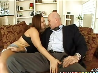 Shaved pussy amateur Aqua Hazel gives head and rides all round cowgirl