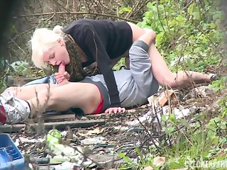 Glam Blonde Agrees To Lie Respecting On Grass To Get Her Orgasm