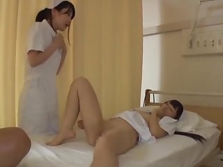 Quickie FFM threesome with two sexy Japanese nurses in uniforms