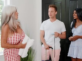 Hotel proprietor is horny and wants sex with the interracial couple