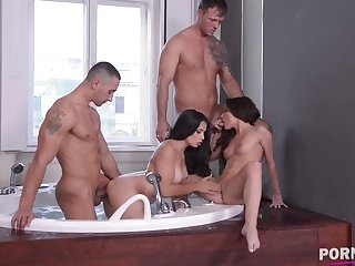 Ass making out foursome in the excrete with babe Ninel Mojado & hot Anita Bellini GP920