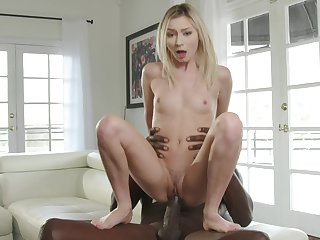 Petite tow-headed rides huge chunk of cock with insane interracial