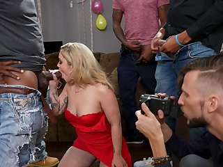 Interracial group dicking in the living-room with Kali Roses